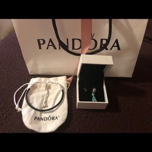 Pandora Princess Jasmine Charm & Leather Bracelet